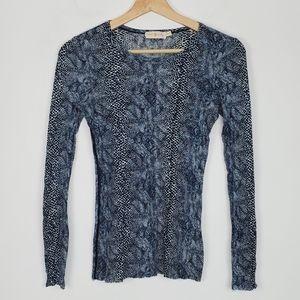Tory Burch Snake Print Blue Blouse Womens XS